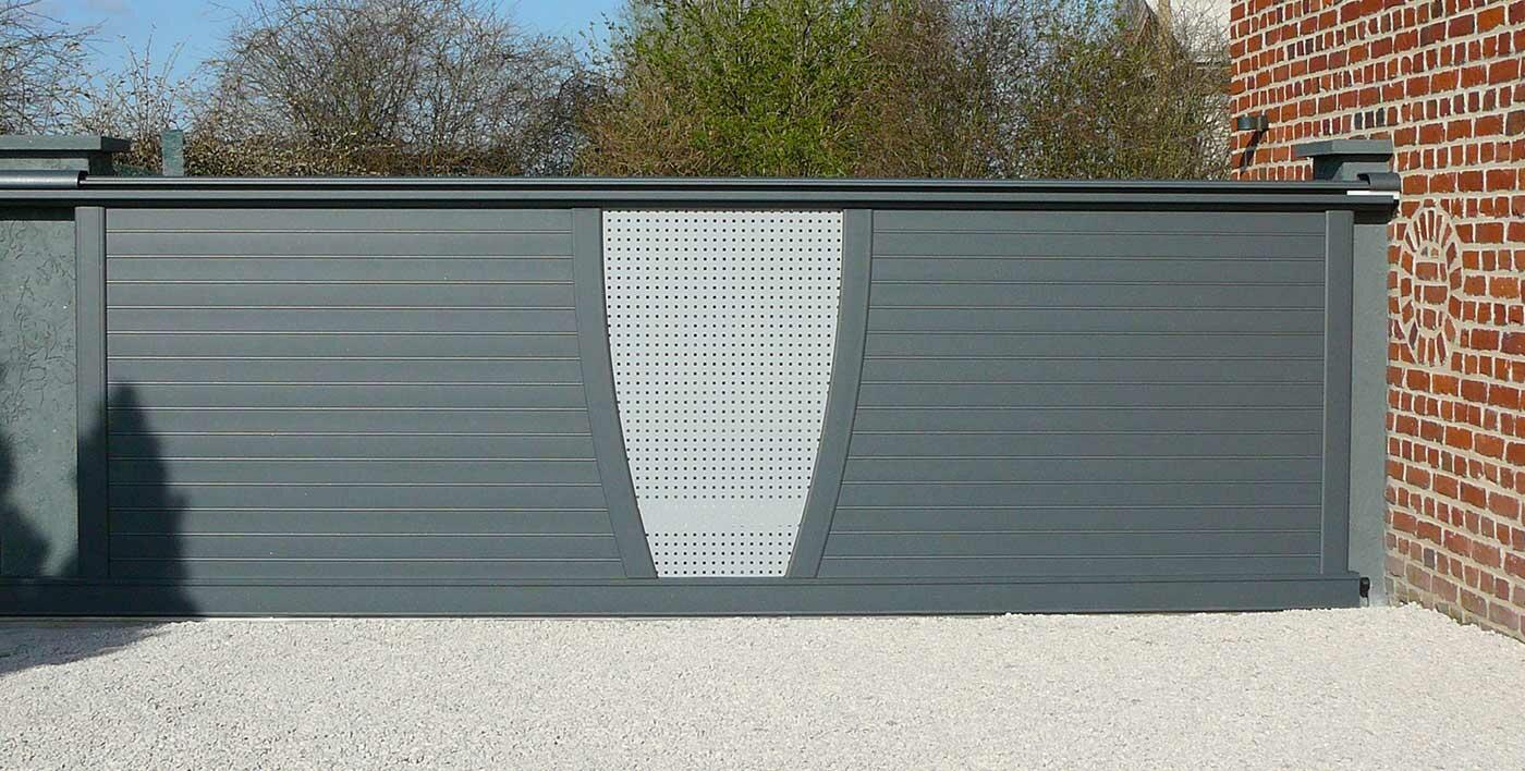 Portail contemporain shar pei s rie 217 portail alu menuiserie alu profils systemes for Portail alu coulissant m
