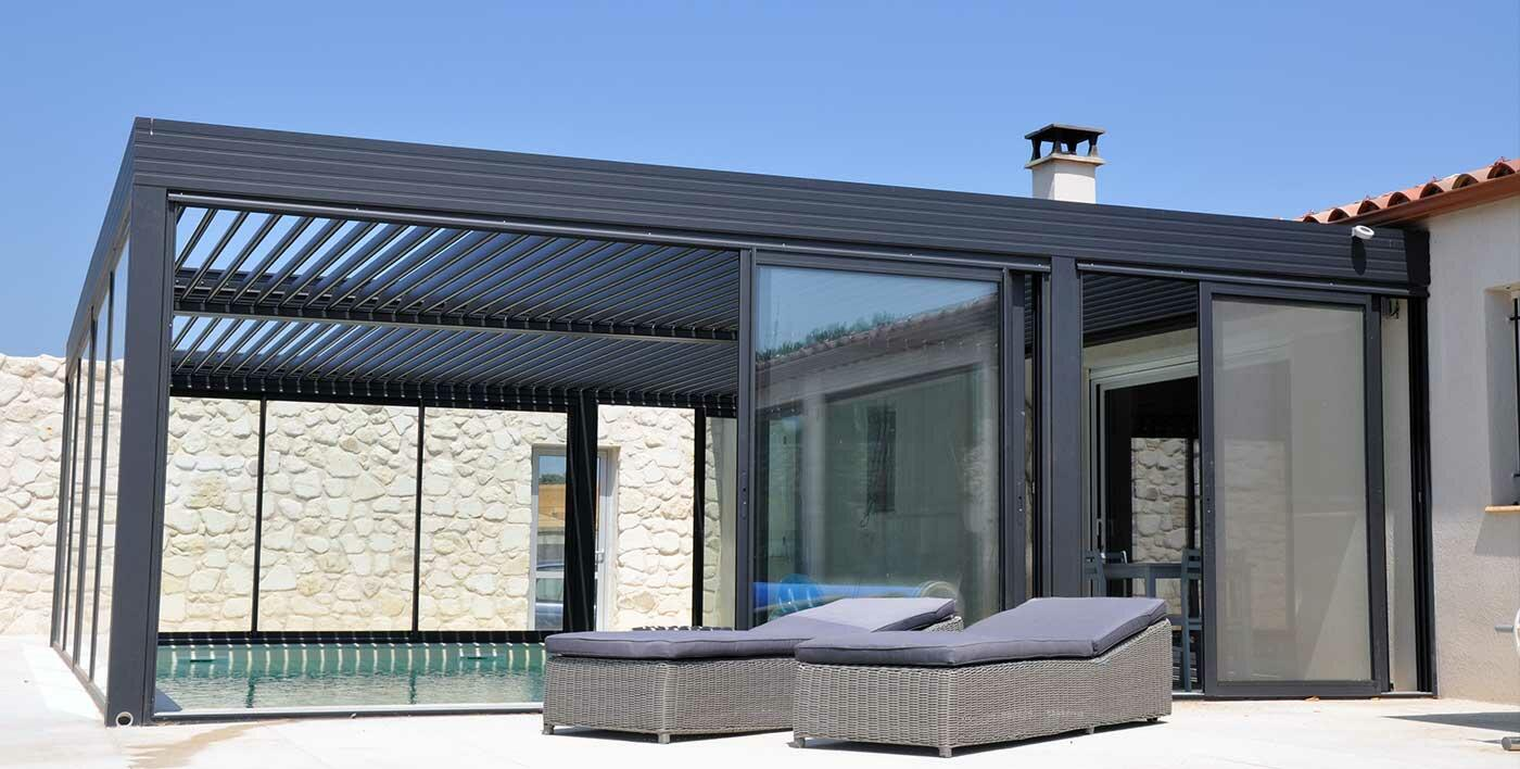 pergola alu bioclimatique wallis outdoor pergola alu menuiserie alu profils systemes. Black Bedroom Furniture Sets. Home Design Ideas
