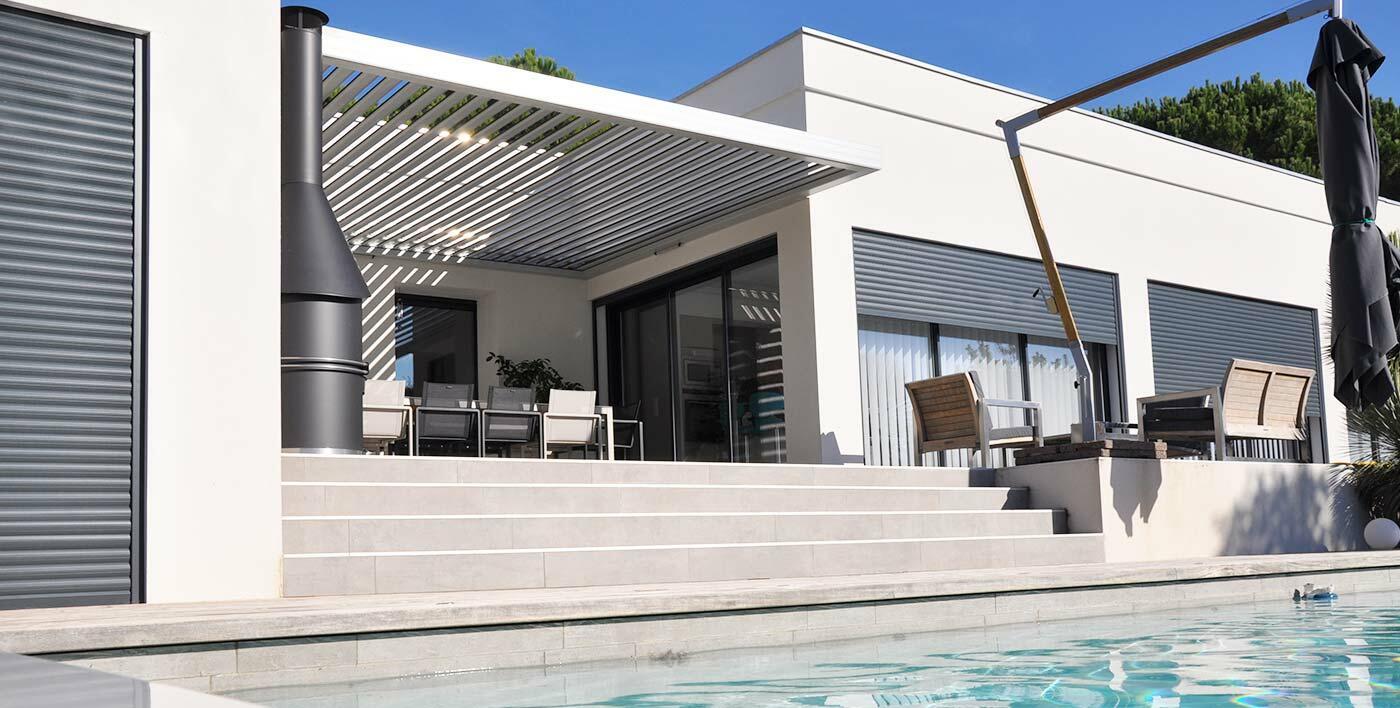 Stunning pergola design alu photos - Pergola alu lames orientables ...