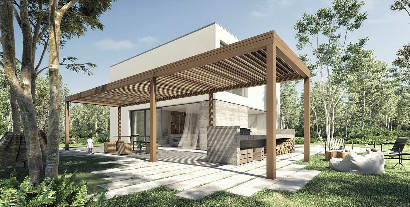 Wallis Outdoor Design By Dank Architectes Pergola Pergolas Gazebo Aluminum Joineries Profils Systemes En