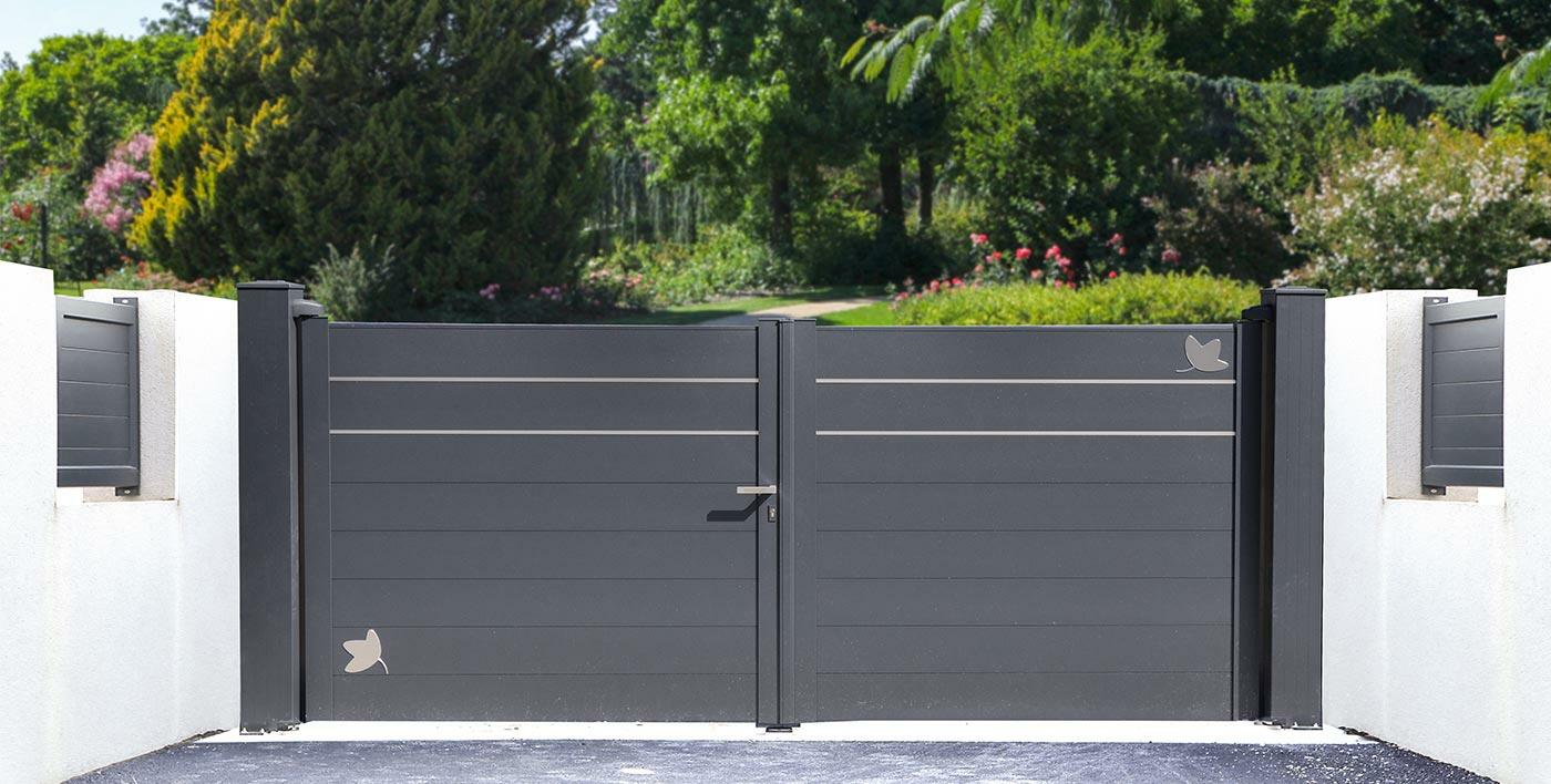 portail aluminium moderne wolf portail alu menuiserie alu profils systemes. Black Bedroom Furniture Sets. Home Design Ideas